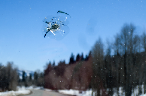 North East Glass replaced this windshield in West Erie, PA due to a large stone chip that could not be repaired.
